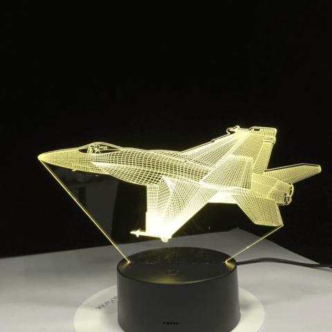 LAMPE 3D LED AVION DE CHASSE
