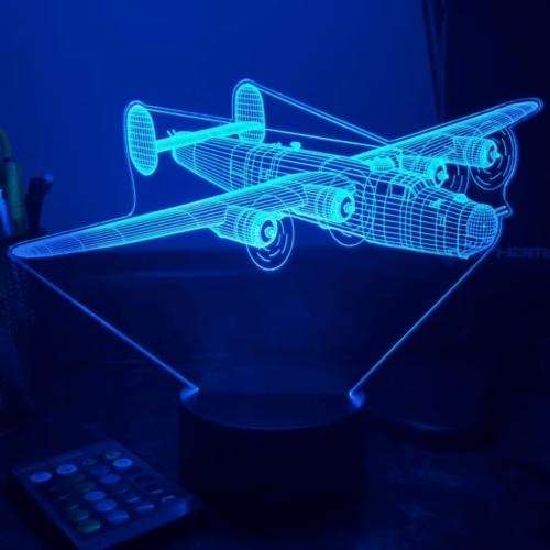 lampe led 3D bleue avion B24